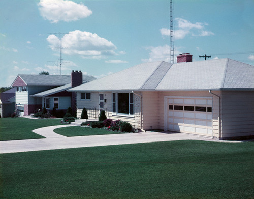 1950s Suburban Single Family House Driveway Garage