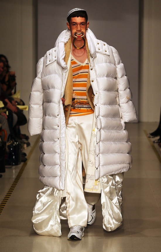 Menswear designs by student Lucie Vincini at the Royal College of Art Graduate Fashion Show in London