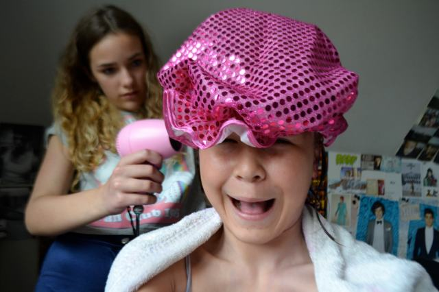 amelia drying my hair