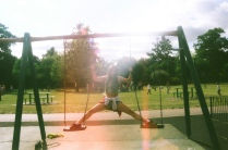 sophie on the swings in dully