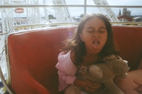 this is aurora looking super cute with her doggie on the ferris wheel