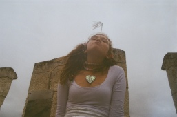this photo was taken on the top of thise fort my mum made us climb. theo was chanelling spice girl vibes and looked rad.